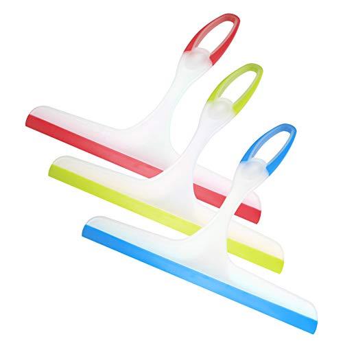 Xiaomoyu 3 piezas de rasqueta para mampara de ducha, limpiador de ducha, limpiador de cristal, hoja de goma, limpiador de plástico, rasqueta para espejo, baño, ventana, suelo, cristal