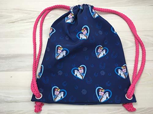 Turnbeutel aus Softshell mit Bibi und Tina auf blau für Kinder und Erwachsene