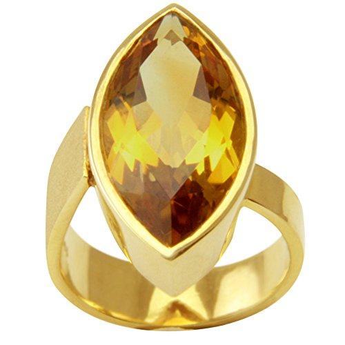 UNIKAT Citrin Ring Gold Goldschmiedearbeit (Gelbgold 585) - Goldring mit Citrin 13,3 Karat - Citrinring mit Expertise - Goldtopas