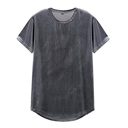 VFIVE UNFOUR Mens Velvet Velour Fashion Hip Hop Long Line Hem T Shirts Gray