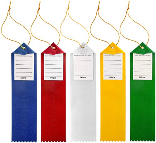 Award Ribbons Place 1st 2nd 3rd 4th 5th Premium Flat Carded Set - Blue Red White Yellow Green & Event Card 12 Each (60 Pack) - by Clinch Star Photo #7