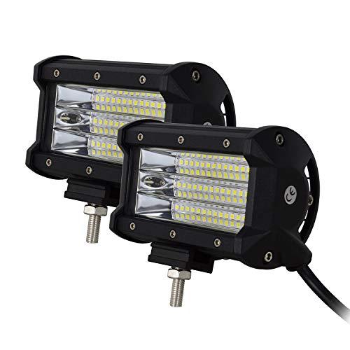 SKYWORLD Barra de luz LED, 2 unids 5 pulgadas 12.7 cm 135W Quad Row Spot Beam Barra de luz LED Trabajo de conducción Luces de campo a través Lámpara de niebla para ATV UTV SUV