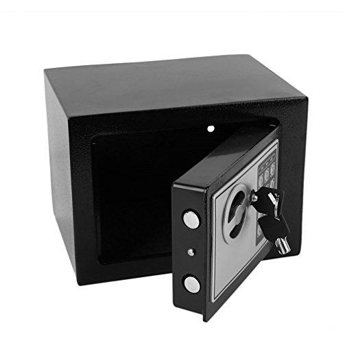 Homgrace Tresor Minitresor Wandtresor Möbeltresor Mini Safe Wandsafe mit Elektronik-Zahlenschloss und Schlüssel, 23 x 17 x 17 cm, Schwarz