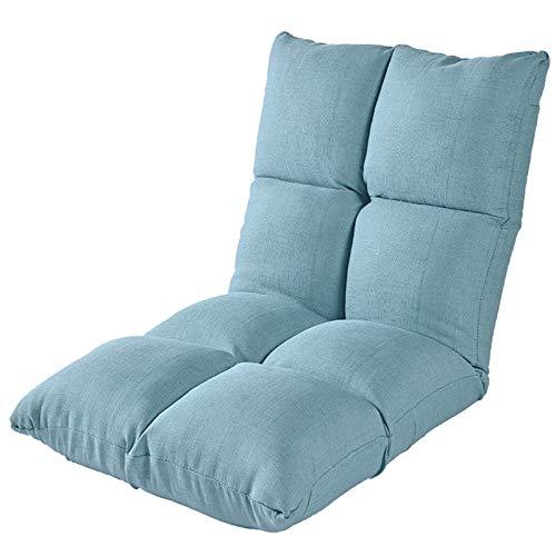 JOMSK Spielstuhlsofa des Spiels Innen Verstellbare Bodenstuhl 6-Position Folding Padded Gaming-Sofa-Stuhl, ideal for die Meditation, Lesen, Fernsehen (Color : Blue, Size : 111x53x16cm)