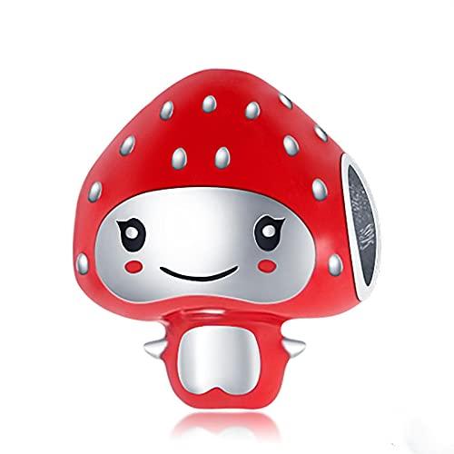 LIJIAN S925 Plata De Ley Fresa Bebé Adecuado para Original Pandora Collar Pulsera Y Brazalete Fabricación Moda DIY Joyería De Mujer Regalo