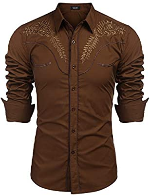 COOFANDY Men's Western Shirts Long Sleeve Slim Fit Embroideres Casual Cotton Button Down Shirt Coffee