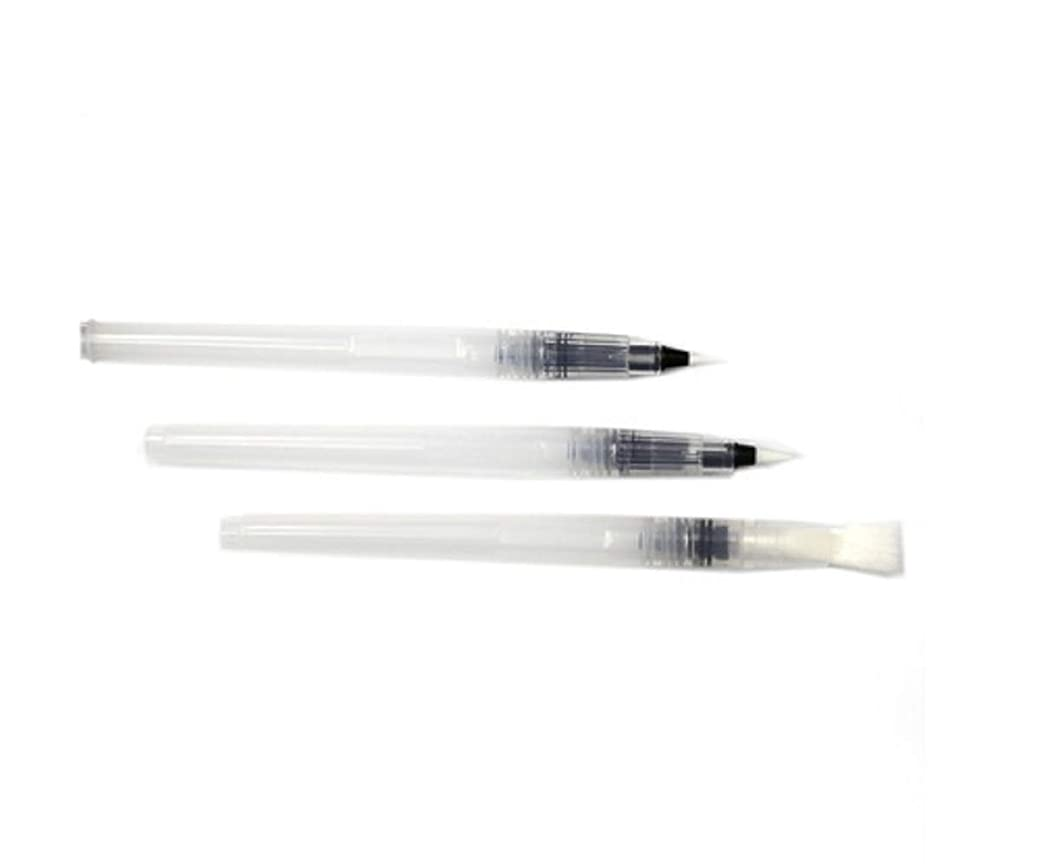 ADORNit 3-Piece Waterbrushes Set - Brushes for Watercolors and Dry Pigments