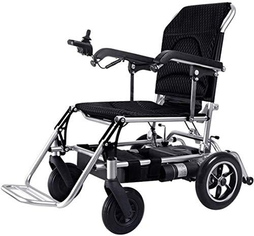 Silla de Ruedas eléctrica, Silla de ruedas eléctrica plegable portátil ligero Powerchair, médico de ruedas de aleación de aluminio de peso ligero de viajes, conducir con energía eléctrica o el uso com