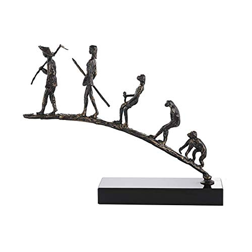 Ornamente Charles Darwins Ape Human Evolution Figur Tierstatue, Sammlung Skulptur für Sich selbst TV-Ständer Dekor Art Display A 64x48x13cm (25x19x5inch)