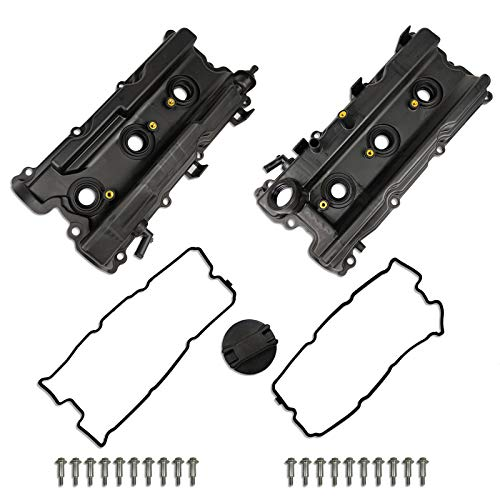MITZONE Pair Valve Covers With Gaskets Bolts Oil Filter Cap Compatible With 2005-2019 Nissan Frontier 05-15 Xterra 05-12 Pathfinder NV1500 2500 3500 4.0L V6 Replacement # 13264-EA210, 13264-EA200