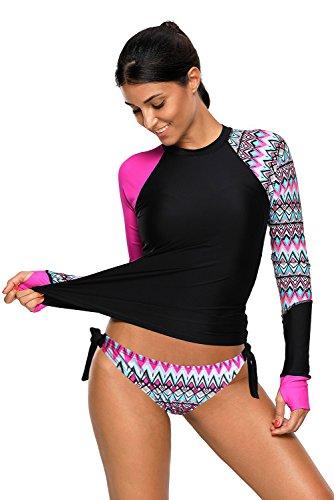 Damen Langarm Rashguard UPF 50+ Athletic Swim Shirt Farbblock Druck Tankini Sets Badeanzug S-XXXL (Rosig, (EU40-42) M)