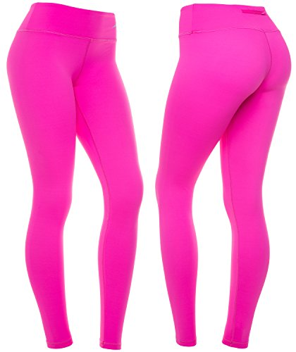 CompressionZ High Waisted Women's Leggings - Compression Pants for Yoga Running Gym & Everyday Fitness (Pink, Large)
