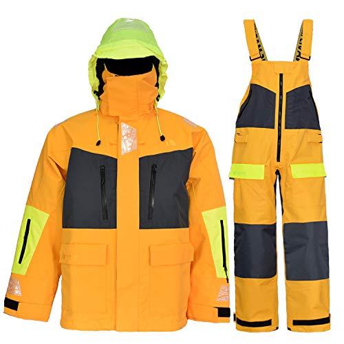 Navis Marine Offshore Sailing Jacket Bib Pants for Men Women Fishing Rain Suit Foul Weather Gear PRO Breathable (Gold, Large)