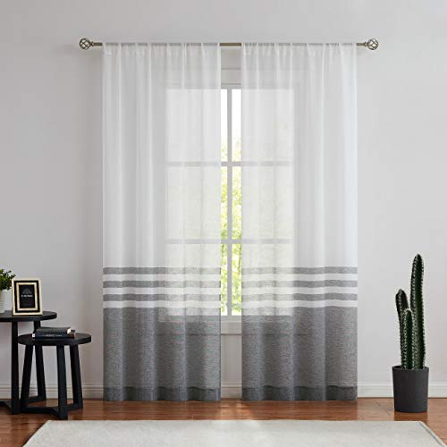 WEST LAKE Stripe Sheer Curtain Panels Color Block Farmhouse Window Drapery Sets Colorblock for Bedroom, Balcony, Living Room, Rustic Rod Pocket Design, 40 x 95 inch, 2 Panels, Black and White