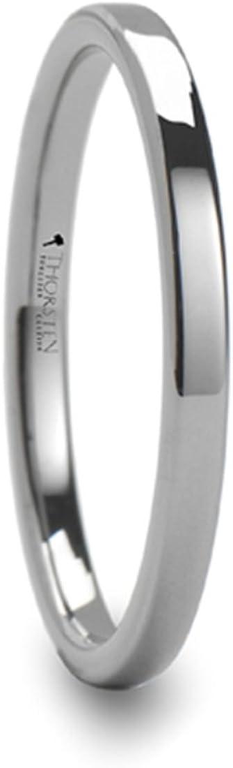 SPARTAN Pipe Cut Flat Tungsten Carbide Ring 2mm Wide Wedding Band