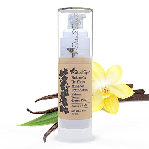 Better'n Ur Skin HONEY TAN Organic Liquid Foundation (Medium/Warm/Yellow Tones) | Healthy Makeup | All Natural | Vegan | Cruelty Free | Gluten Free | Non GMO | Palm Free | Natural Sun Protection