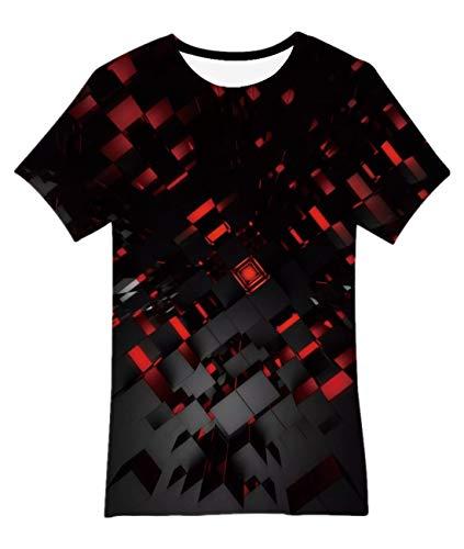 Idgreatim Junioren Neuheit T Shirts Cool 3D Print Pizza Katze Kurzarm Grafik T-Shirts Tops Junge Mädchen