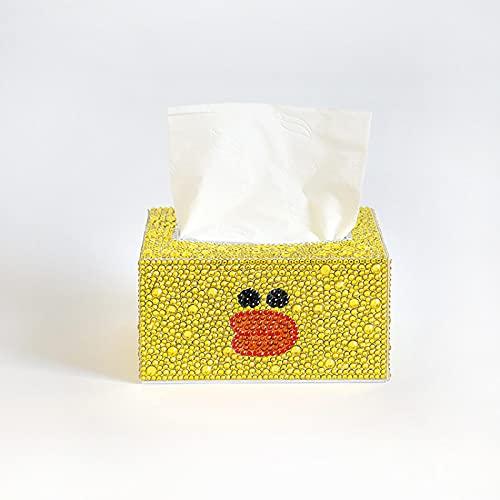 Caja de pañuelos de pintura de diamante, hecha a mano, caja de pañuelos para el hogar, bordado de diamante, paquete de material de punto de cruz