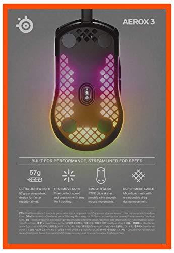 SteelSeries Aerox 3 – Superleichte Gaming-Maus – Optischer TrueMove Core Sensor mit 8.500 CPI– Ultraleichtes, wasserfestes Design – Schwarz - 9