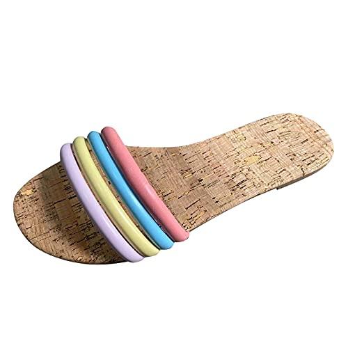 URIBAKY - Sandalias de verano para mujer, diseño de arcoíris, Multicolor (multicolor), 41 EU