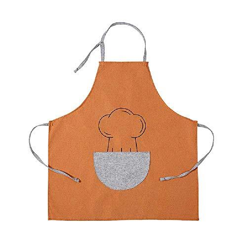 wangtao Cocina Antiincrustante Anti-aceite Limpiando Las Manos Vestido De Cocina Casera Pareja Mujeres Hombres Monos De Cintura Naranja