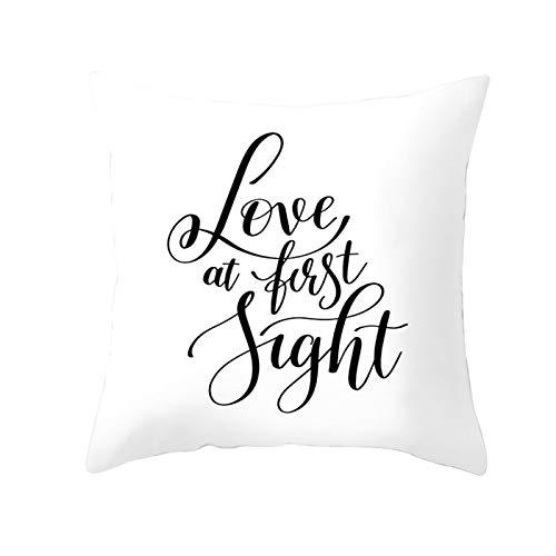 AtHomeShop - Federa decorativa per cuscino, 50 x 50 cm, in poliestere, con scritta 'Love at The Best Fight', comoda e quadrata, per divano, camera da letto, decorazione – nero e bianco, stile 33