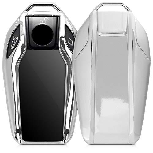 kwmobile Autoschlüssel Hülle kompatibel mit BMW Display Key Autoschlüssel - TPU Schutzhülle Schlüsselhülle Cover in Hochglanz Silber