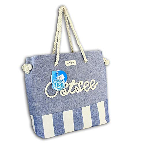 Robin Ruth Strandtasche Ostsee blau beige gestreift Shopper Seiloptik OTG2102B Baumwolle Schultertasche