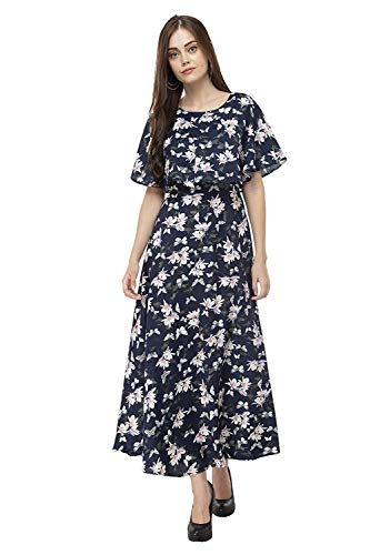 SHMAYRA by Myra-Syra Women International Floral Printed Fit and Flare Maxi Cape Long Dress (Multicolour, X-Large)