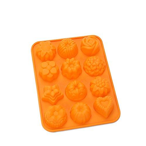 Askcut Moldes para hacer tartas de postre, molde de silicona con mini plantas, molde para hacer chocolate, molde para hornear cupcakes, modelo para kintchen Cake Room-12 agujeros (naranja)