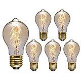 LED Retro Bombillas Vintage, E27 Vidrio Lámpara, 220V 40W Blanco Cálido 2700K para Hogar Decorativa 6 Pc,Warm White,40W