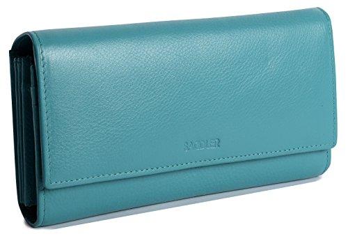 SADDLER Billetera y Monedero Concertinas de 19cm y con Solapa para Mujeres - Verde Azulado