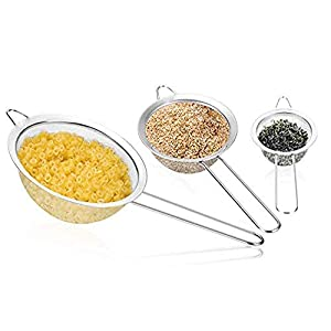 3PCS Stainless Steel Kitchen Fine Mesh Strainers with Handle, (2.6+4.6+7.1) inches for Juice Egg Tea Coffee Flour Filter… |