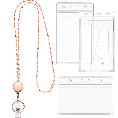 Retractable Badge Reel Lanyard with ID Holder for Women, Fashion Cruise Lanyard Stainless Steel Necklace with 3 Pieces Name Badge Holder Clip (Rose Gold)