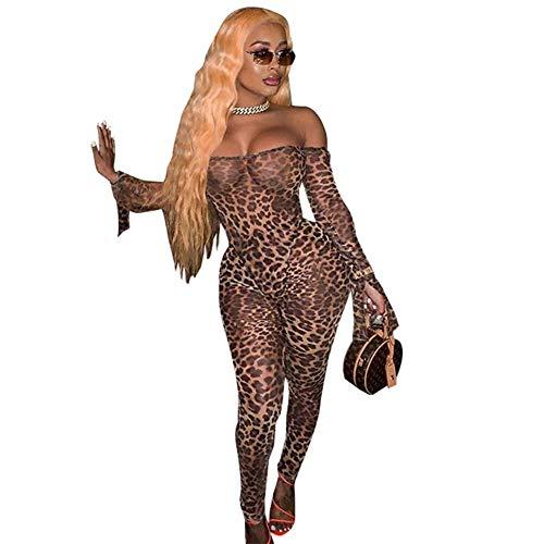 Halloween Kostuum Props, Luipaard Tiger Zebra Print Grote Hoorn Manchetten, Vrouwen Tight Jumpsuit,Luipaard, XL