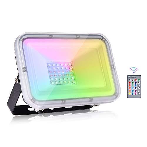 Viugreum 30W Faretto LED RGB Esterno, Proiettore Natale LED IP67, 4 Modalità 16 Colori con Telecomando, LED Colorati, Faretti Giardino, Faro per Decorare Feste Natale Giardino Cortile Attività