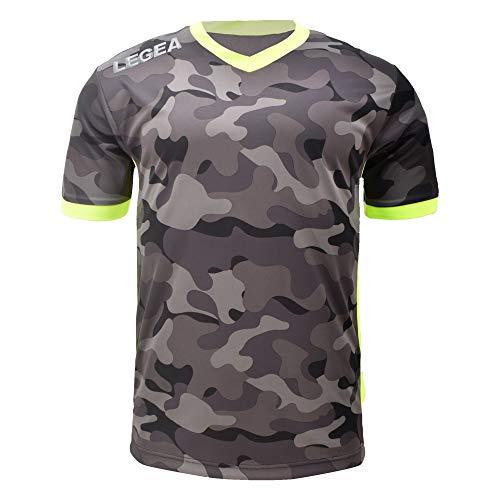 LEGEA Tolosa - Camiseta de Entrenamiento para Hombre, Color Negro y Verde Fluorescente, Talla XL