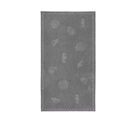 Seahorse - Strandtuch - Badetuch - 100% Baumwolle - Shells/Muscheln - Grey/grau 100 x 200 cm