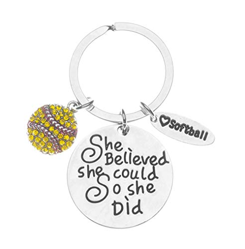 Sportybella Softball Keychain, Softball She Believed She Could So She Did Gift, Girls Softball Jewelry, for Softball Player and Teams- Exchange Gifts