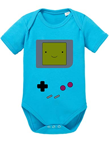Game Smile Body PS bébé Coton Bio Proverbes Station Barboteuses Garçons et Filles 0-12, Größe2:68/4-6 Mois, Baby:Turquoise