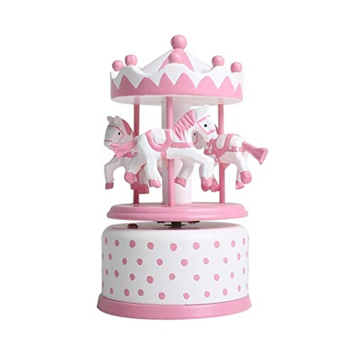 Hong Yi Fei-Shop Caja Musical Caja de música Carrusel de Madera Día de los niños Regalo de cumpleaños de los Amigos Juguete Caja de música Caja de música (Color : Pink)