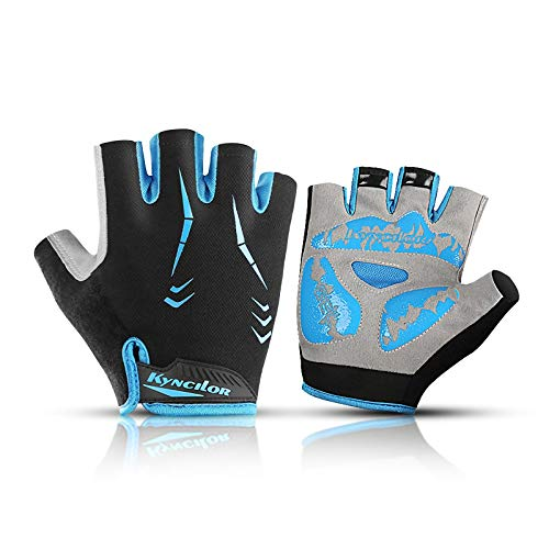 FENGTING Gel Cycling Gloves,Blue Half Finger Shock-absorbing Anti-slip Lightweight Wear-resistant Lightweight,for Mountain Biking Fishing Climbing Riding Outdoor Sports (Size : Medium)