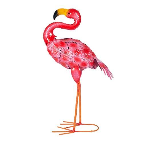 CAPRILO. Figura Decorativa de Metal Flamenco Rosa. Adornos y Esculturas. Animales. Decoración Hogar. Regalos Originales. 43 x 16 x 8 cm.