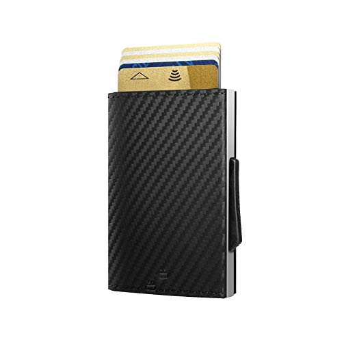 Ögon Smart Wallets - Cascade Slim Wallet - Automatische Geldbörse aus Aluminium und Leder - Popup-Karten - RFID-Schutz – Bis zu 8 Karten und Banknoten – Leder Carbon / Aluminium Silber
