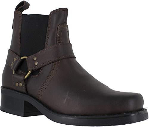 Gringos M486Stivaletti alla caviglia da uomo, in pelle, in stile motociclista o cowboy, Marrone (Brown), 45.5 EU