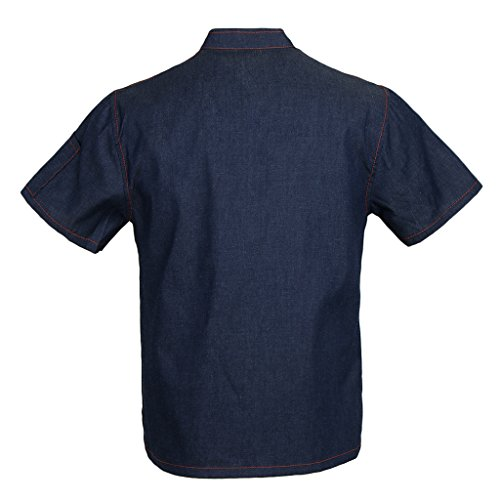 Homyl Männer Frauen Denim Kochjacke Knöpfe Bäckerjacke Gastronomiebekleidung Kochhemd Arbeitskleidung für Koch Köche – Blau, XL - 7