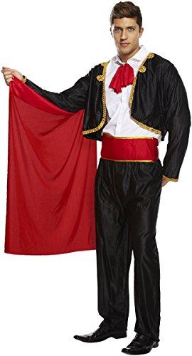 Emmas Wardrobe Spanisch Matador Kostüm | Schwarzem Outfit mit Roten Cape | Grobe M-XL | Stier-Kämpfer Kostüme für Halloween (Men: Medium, Black)