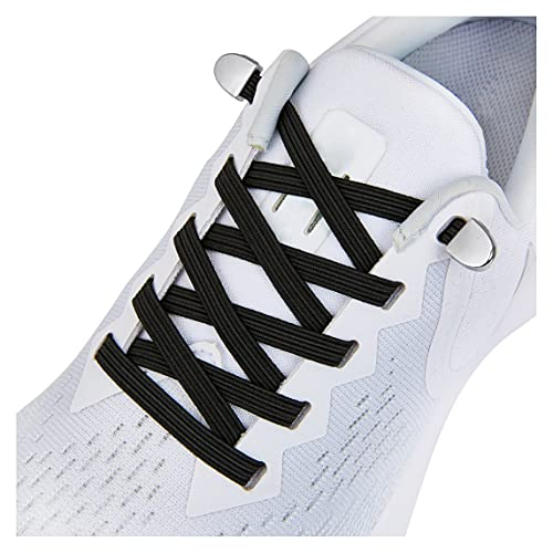 No Tie Shoe laces with Elastic Laces,Elastic Shoelaces for Adults and Kids Black