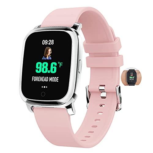 HQPCAHL Smartwatch 1.3' Táctil Completa Reloj Inteligente Mujer Hombre Temperatura Corporal Actividad Inteligente con Pulsómetro Monitor De Sueño Reloj Deportivo Impermeable IP67 para Android Y iOS,D