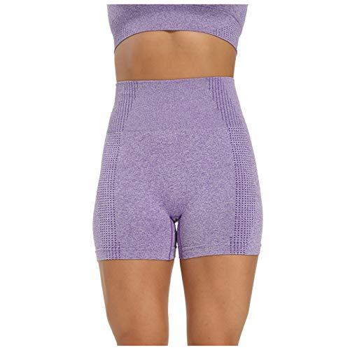 2021 Nylon Seamless Casual Sports Tight Fashion Fitness Mujeres Yoga Shorts(Púrpura,L)